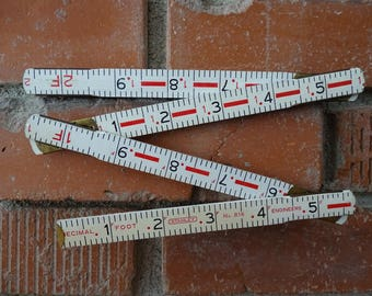 Vintage Stanley Zig Zag Folding 6 foot Ruler, Collapsible Engineering Measuring Stick, Metal Hinged Joints, Stanley #816, Industrial Decor