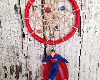 Superman dreamcatcher - superman accessory - rearview mirror dreamcatcher - car charm - fandom dreamcatcher - super hero dreamcatcher