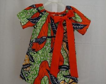 Ankara Print Girls Peasant Dress