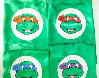 Personalized Ninja Turtles Superhero Cape and Masks set costume Party Favor Birthday, Christmas Stocking Stuffer