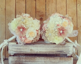 Fabric flowers wedding bouquet, bridal bouquet, blush bouquet, twin bouquet, lace bouquet