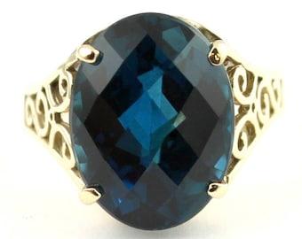 London Blue Topaz, 14KY Gold Ring,  R049