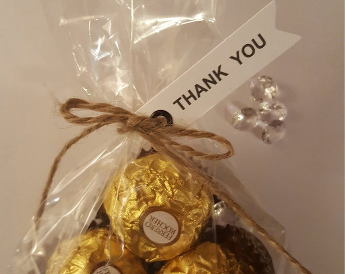 Ferrero Rocher Chocolate wedding favours. Name place setting.