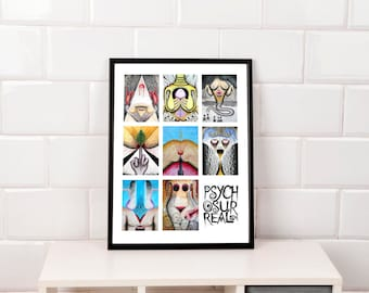 Psychosurrealism portrait collage print 2 - original surreal art, popsurreal, folk art, outsider art, underground art, weird art