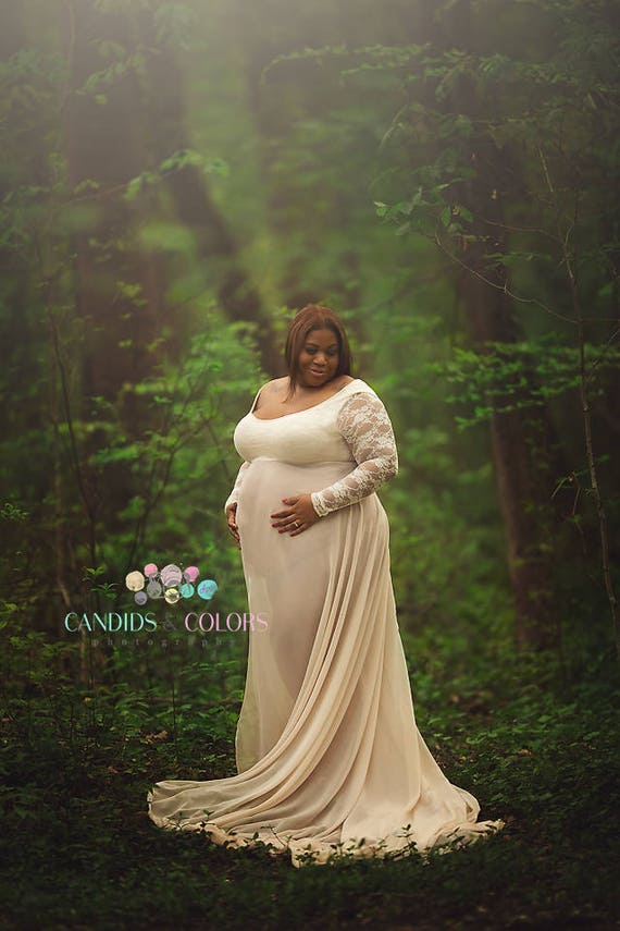 Plus Size Lace Baby Shower Maternity Dress For Photo Shoot