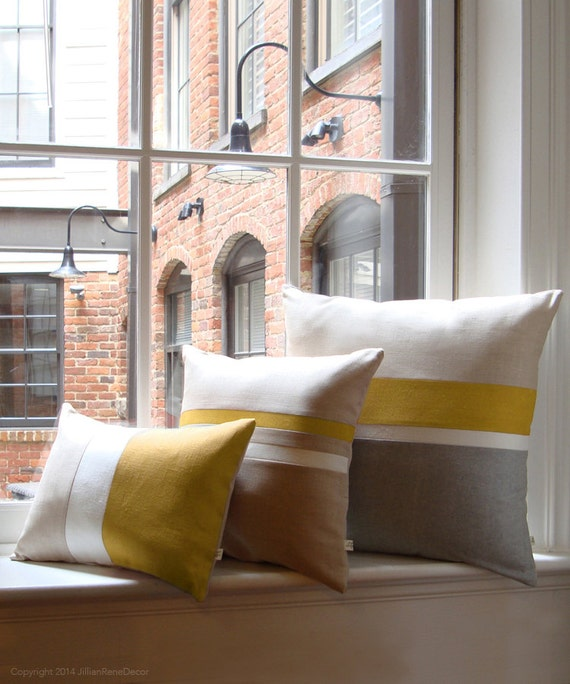 Mustard Yellow Amp Gray Chambray Striped Colorblock Pillow Cover