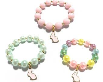 Small Beaded Pink Bunny Charm Bracelet - Pastel Rainbow Bunny Bracelet - Easter Bracelet - Pink and Gold Bunny Bracelet - Pink and Mint