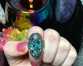 Turquoise in Copper Ring, Size 6.5 (925 Stamped)
