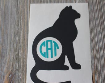 Cat Monogram Car Decal - Monogram Cat Car Decal - Monogram Car Decal - Monogram Decal -  Car Decal - Cat Decal - Cat  Monogram - Cat - Decal