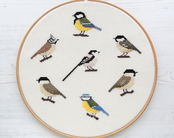 cross stitch bird sampler chart pack, British tit birds cross stitch pattern, titmice cross stitch design, bird pattern set, bird chart pack