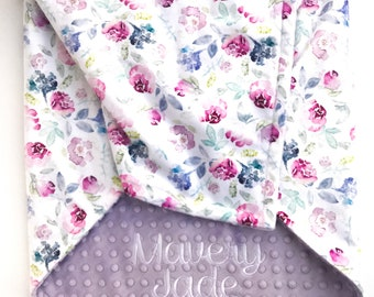 Minky Baby Blanket - Baby Blanket with Name - Personalized Baby Blanket - Floral Baby Blanket - Monogram Baby Blanket  - Receiving Blanket