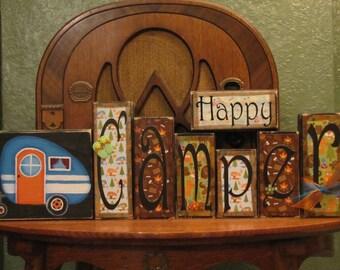 Summer Decor, Summer Sign, Camping Sign, Camping Decor, Summer Decoration , Happy Camper word blocks
