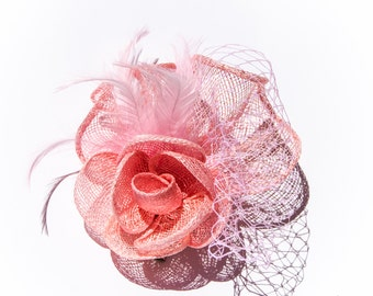 Pink Classic Flower Fascinator  Clip and Brooch