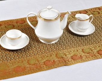 Ethnic floral design brocade golden silk table runner
