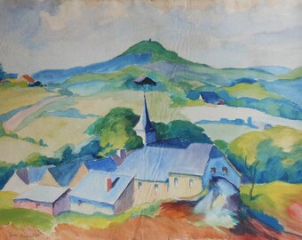 vintage watercolor of houses church valley signed