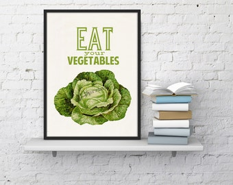 Kitchen Wall Art Eat your vegetables print Art, Giclee Print wall decor, Art and collectibles Kitchen art TYQ037WA4