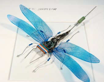 Electrickery Steampunk Dragonfly Blue Dragonfly Wall Art Sculpture Mother's Day Gift Circuit Board Geek Computer bug Motherboard IT Gift