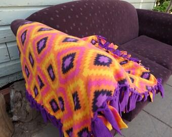 Purple Orange No Sew Lap Blanket, Polar fleece Throw rug, Diamond Pattern Bright Color Blanket, Handmade Dorm Room Lounge Decor