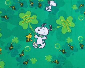 Peanuts St. Patrick's Day print scrub or chemo caps for men or women