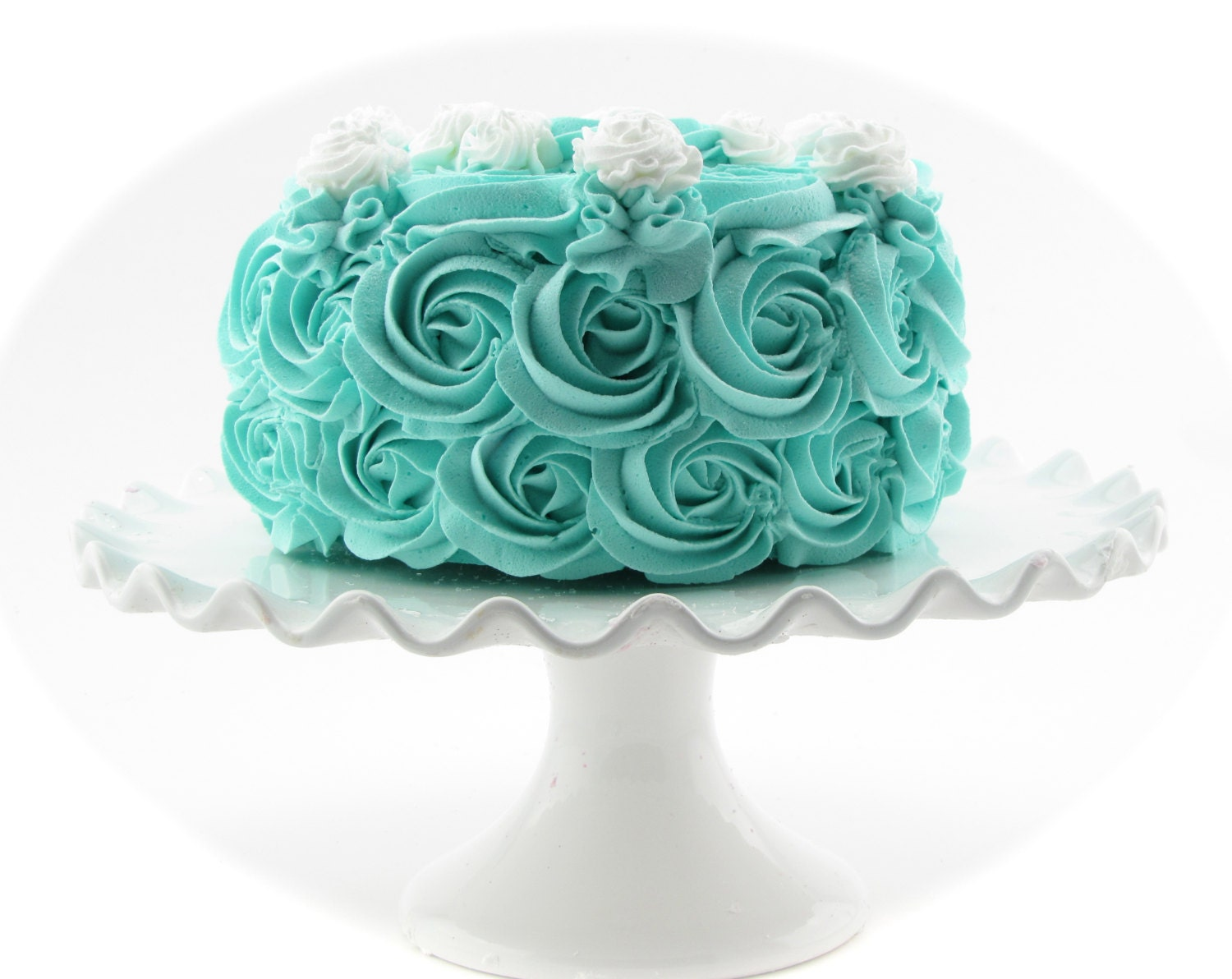 Rosette Fake Cake Turquoise Frosting Approx 675w X