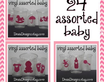 24 Baby shower vinyl decals Girl baby shower assorted vinyl stickers decorations sprinkle party vinyl cup stickers party cup vynil stickers
