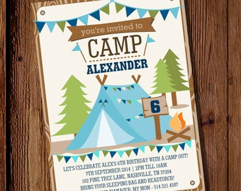 Camping Party Invitation for a Boy - Backyard Campout - Summer Camp Invitation - Instant Download - Edit with Adobe Reader