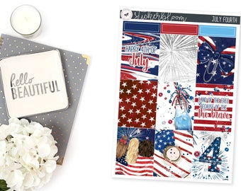 July Fourth ALC || Full Boxes Planner Stickers