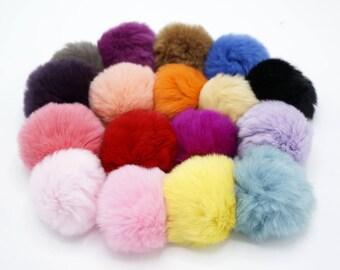 5pcs x 5-6CM Rabbit Fur Ball, DIY Real Rabbit Fur ball , Furry Pompom, Fur Pom Pom,Phone Tag/ Keychain Charm TZ1385
