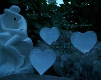 SELENITE HEART - Choice Medium or XLg Puffy ~ Packaged with Selenite Sand & Handmade Gift Box