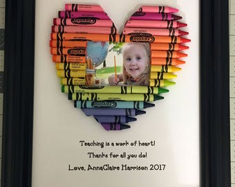 Personalized Teacher Gift - Crayon Heart Picture Frame - 8 by 10