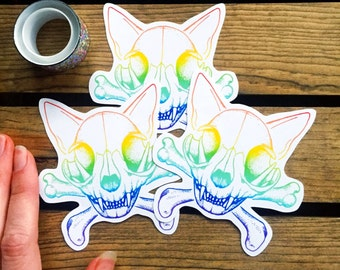 Rainbow Cat Stickers. Skull Sticker Set. Gay Pride. Hipster Skull and Crossbones. LGBT Kitty Cat. Geeky Anatomy Stickers. Unique Gift Idea.