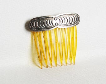 Vintage 1950s Sterling Silver Hair Comb with Native American Stamped Design Fred Harvey Pawn