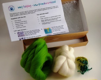 Felting Kit - 3D sculptural vessel craft kit - white and green - make your own