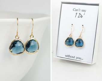 Navy Blue Quartz Gold Earrings, Navy Gold Drop Earrings, Blue Gold Earrings, Bridesmaid Earrings, Bridesmaid Gift, Wedding Jewelry