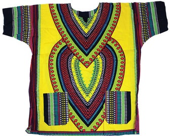 Africa Traditional  Heart Of Africa Dashiki - Gold