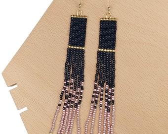 Black-Pink - Long Beaded Tassel Earrings