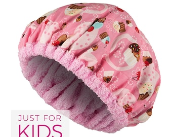 FOR KIDS! Microwavable Deep Condition Cap - CUPCAKES Reversible Little Hot Head