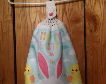 Double Sided Hand Crocheted Dish Hanging Towel Happy Easter Bunny Chicks