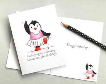 Dancing penguin birthday card, ballet dancer birthday card, Funny dancing ballerina penguin card