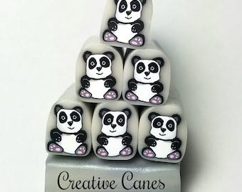 Panda Raw Cane, Raw Polymer Clay Cane, Unbaked Clay Cane, Millefiori Clay Cane, Polymer Clay Cane, Craft Supply, Panda, Animal Clay Cane