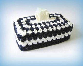 Cover tissue Navy Granny crochet box