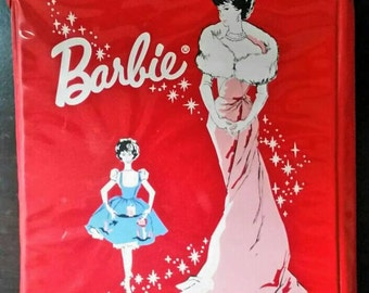 Vintage Red Vinyl Barbie Case With Doll 1962