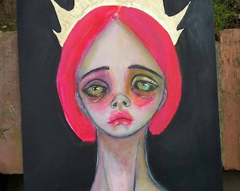 The crown, 2. Original mixed media art, abstract portrait, mixed media girl, lowbrow, crown portrait, mixed media art, quirky portrait