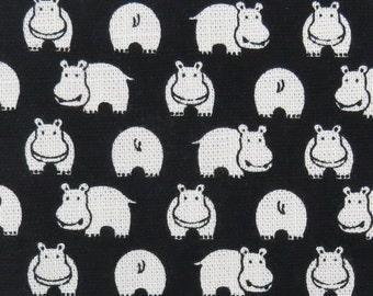 2547 - Hippo Fabric White in Black ,  Kawaii Animal Fabric , Slub Texture
