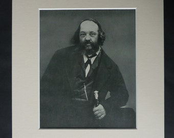 1950s Vintage Anarchist Print of Mikhail Bakunin, Revolutionary Picture, Available Framed Anarcho Art Russian Libertarian Communist, Anarchy