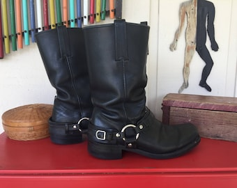SALE!!  Frye black leather harness boots