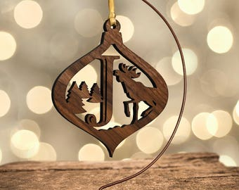 Moose Ornament with Letter J, Laser Cut Hardwood