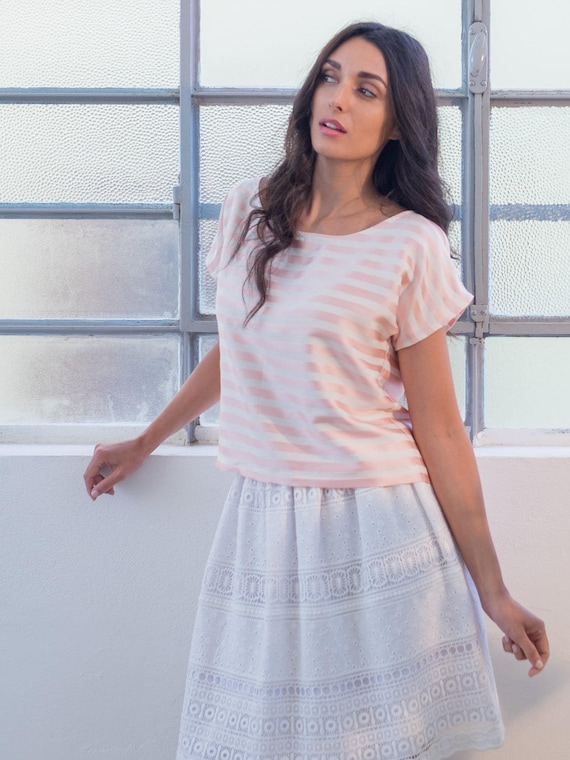 SAMPLE SALE, pink silk blouse, striped top, pink and white top, pink tunic top with stripes, short sleeve top, striped tshirt
