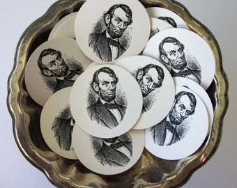Abraham Lincoln Tags Round Gift Tags Set of 10