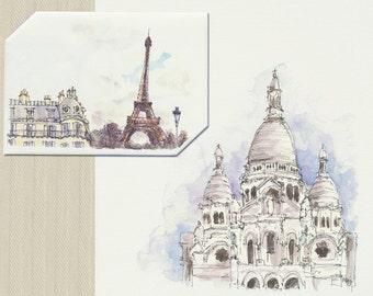 Instant Download Paris Eiffel Tower & Sacre Coeur Card + Envelope, Travel, Anniversary, Birthday